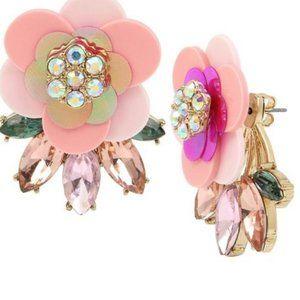 Betsey Johnson PINK PEDAL FLOWER LEAF EARRINGS